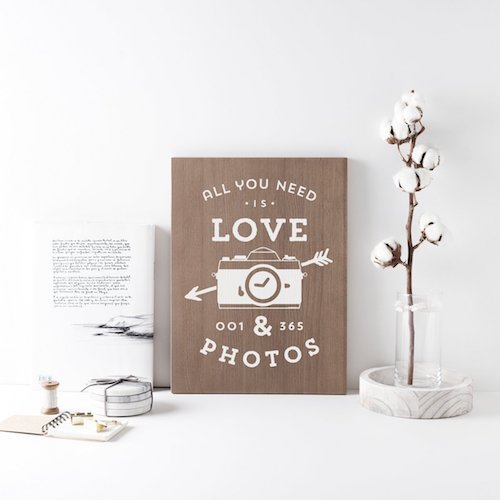 Cartel pared de madera Love Photos